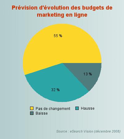 Prévision d'évolution des budgets du webmarketing